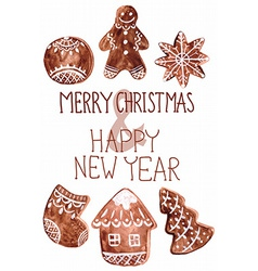 Gingerbread cookies and christmas decoration vector image