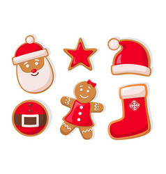 gingerbread man and star shaped cookies icons vector image