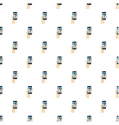 Girl taking selfie photo on smartphone pattern vector