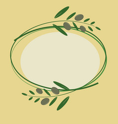greeting card wiht olive branches vector image