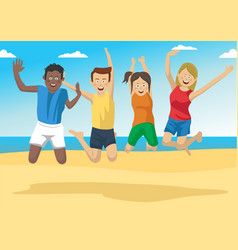 Group of friends together jumping on the beach vector