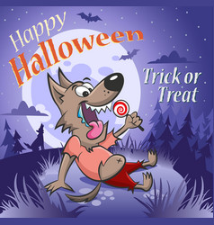 Halloween werewolf with a candy under the moon vector