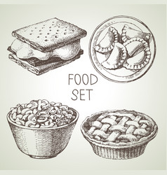 Hand drawn food sketch set apple pie dessert vector