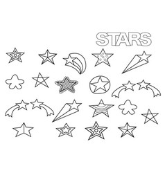 hand drawn stars set coloring book page vector image