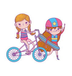 Happy childrens day cute girl skateboard and vector