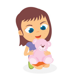 happy little girl playing her doll vector image