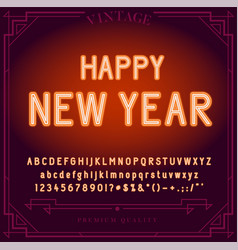 Happy new year holiday bright neon alphabet vector