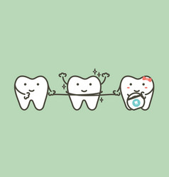 healthy teeth cleaning his friend by dental floss vector image
