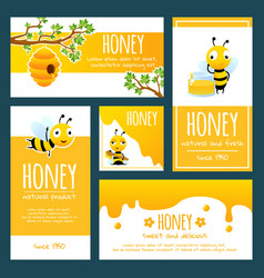 Honey labels banners or cards design template vector