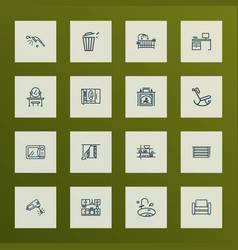 House icons line style set with sink desk vector