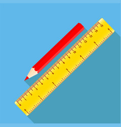Icon square shape icons of red pencil and ruler vector