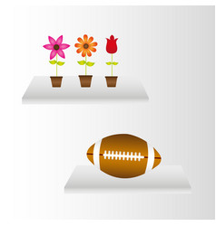interiors with flowers and american football over vector image