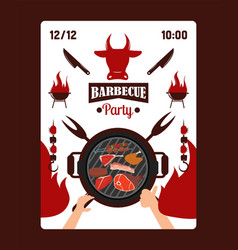 invitation to barbecue party grill event vector image
