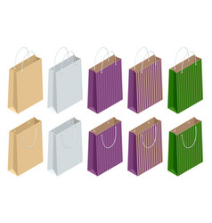 isometric set recycled paper shopping bags vector image