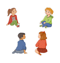 kids children boys and girls sitting on floor vector image