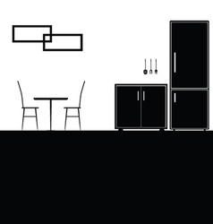 kitchen black vector image