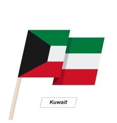 Kuwait Ribbon Waving Flag Isolated on White vector image