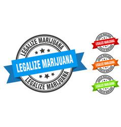 Legalize marijuana stamp round band sign set label vector