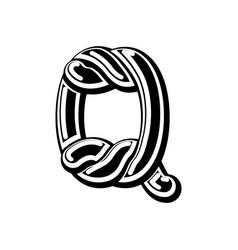 Letter q celtic font norse medieval ornament abc vector