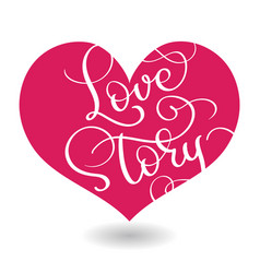 Love story text in red heart calligraphy vector