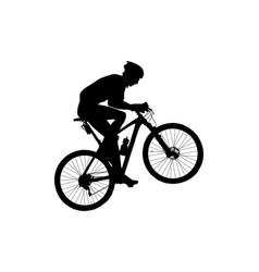Man cyclist mountain biker riding uphill black vector