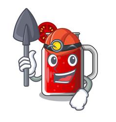 Miner tasty tomato juice on cartoon table vector