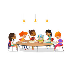 Multiracial children sitting around round table vector