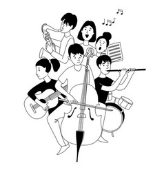 music school orchestra concert students musical vector image