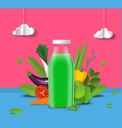 natural vegetable juice promo poster template vector image