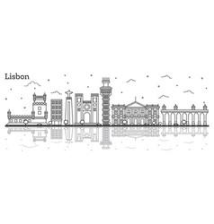 outline lisbon portugal city skyline with vector image