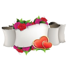 Paper scroll with hearts and flowers vector image