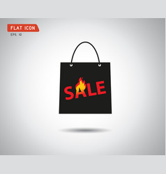paper shopping bag icon online shop sale logo vector image