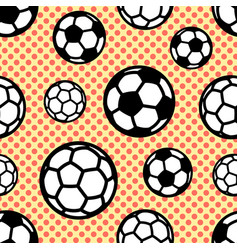 Pattern with soccer balls on background circles vector