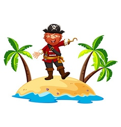 Pirate standing on the island vector
