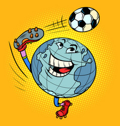planet earth is a character like a football player vector image