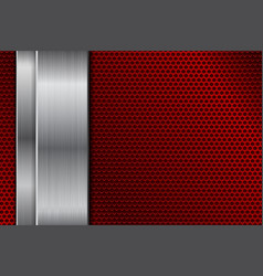 red metal perforated background with vertical vector image
