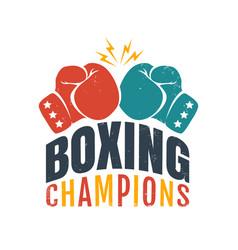 Retro emblem for boxing champions vector