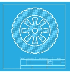 Road tire sign White section of icon on blueprint vector image