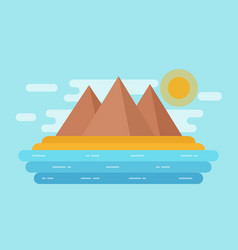 sea landscape with sand beach mountains flat vector image