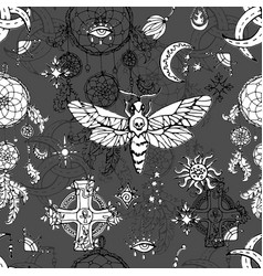 Seamless pattern with moth - symbol death vector