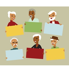 Seniors holding blank cards vector image