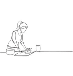 single one line drawing young woman making cookie vector image