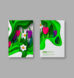 spring floral banners paper cut carving art vector image