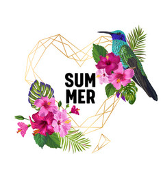 summer tropical design with hummingbird flowers vector image