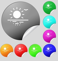 Sunset icon sign Set of eight multi colored round vector