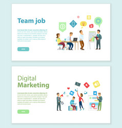team job and digital marketing online web pages vector image