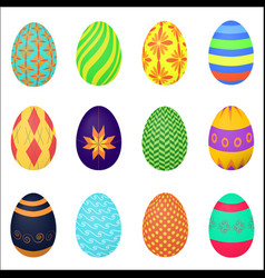 The ornamental colorful easter eggs variety vector