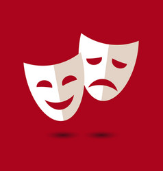 theater masks icon on white background vector image