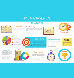 Time management bright inforaphic internet poster vector