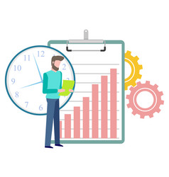 Time management workflow person with document vector